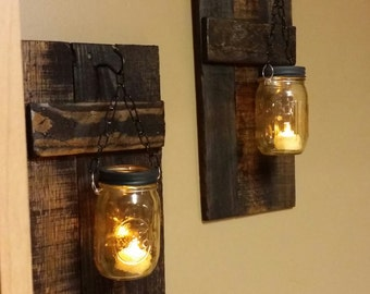 Rustic Wood Candle Holder, Rustic  Decor,  sconce candle holder, Rustic Lantern, Mason Jar wood candle, Candleholders  priced 1 each