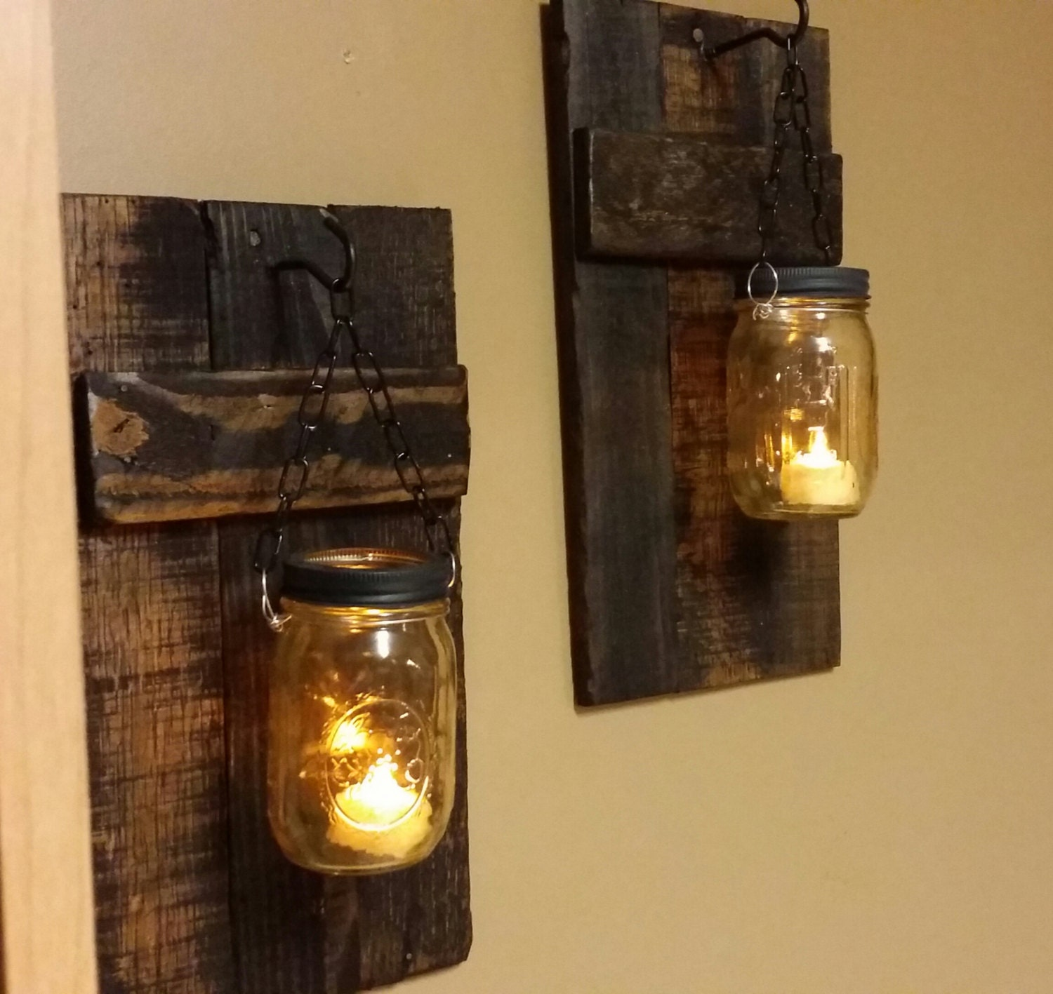 Mason Jar Candle Holders Rustic Wood Candle Holder Rustic Decor Sconce Candle