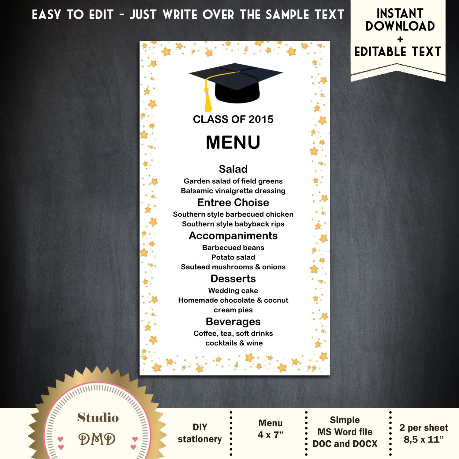 Sample Menu Card - Design Templates
