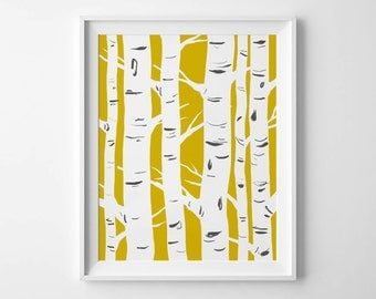 BIRCHES in MUSTARD - Instant Download - 8x10 - 11x14 -  Printable Art - Scandinavian - Mustard - Trees - Minimalist - Wall Art - Home Decor