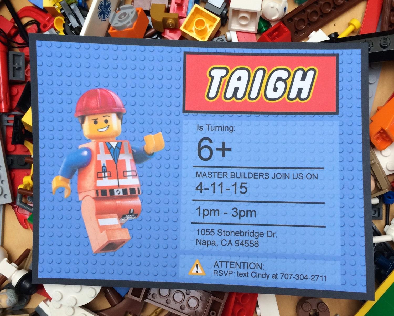 Lego Movie Birthday Invitations gangcraftnet
