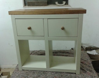 Chunk rustic console table with 2 draws Painted
