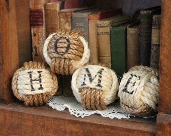 Rustic Western Home Sign - Nautical rope balls - set of 4 rope knots - rope home decor - monkey fist knots - rustic vase filler