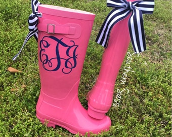 Personalized/Monogram  Rain boots SIX COLORS AVAILABLE