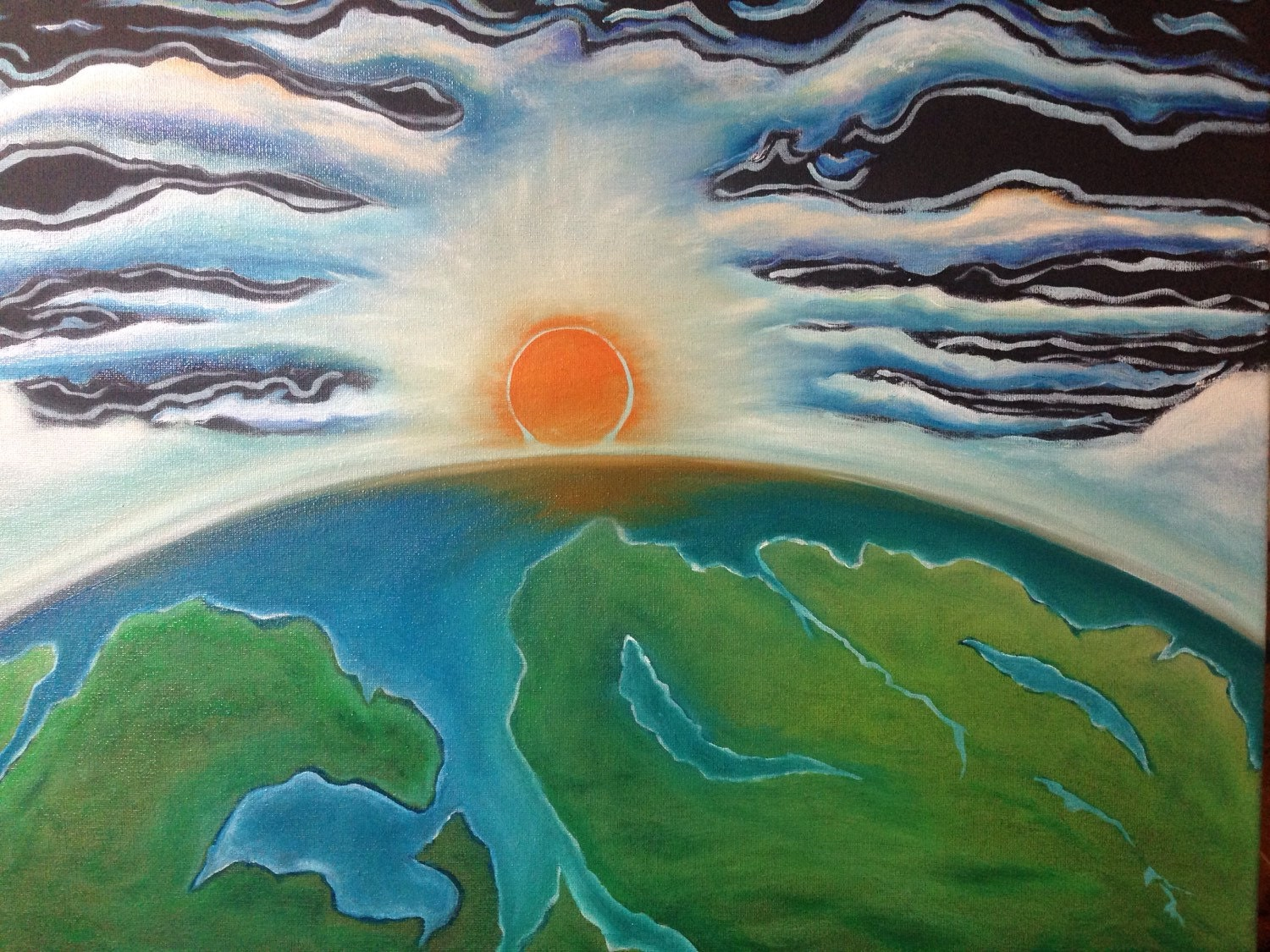 Heaven and Earth oil painting original hand painted Earth Painting Oil