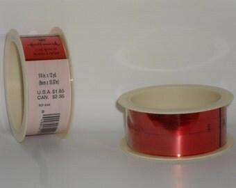 Vintage Hallmark Gift Curling Metallic Ribbon Red 3319 Metallized Curl Sheen New! Old Stock.
