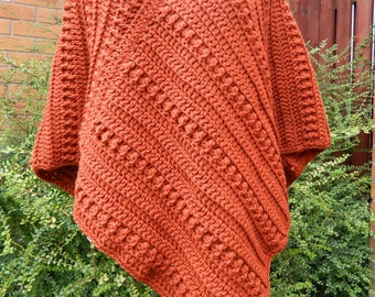 Copper Poncho/Crocheted in a Chunky Weight Wool