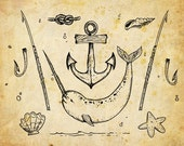 Nautical Clipart Clip Art, sea star, narwhal , anchor, shell, harpoon, knot, Digital sketchy nautical, Vector EPS, PNG - instant download