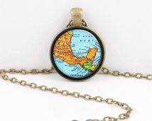 Vintage Map Mexico Yucatan Peninsula Riviera Maya Glass Pendant Necklace or Key Ring