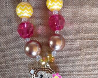 Adult Adorable Tropical Monkey Bubble Gum Bead Necklace