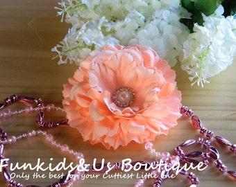 Peach  Hair Clip-Bridal Hair Piece-Bride Hair Clip-Bride Head Piece- Girl Accessories- silk peony flower with pearl Button