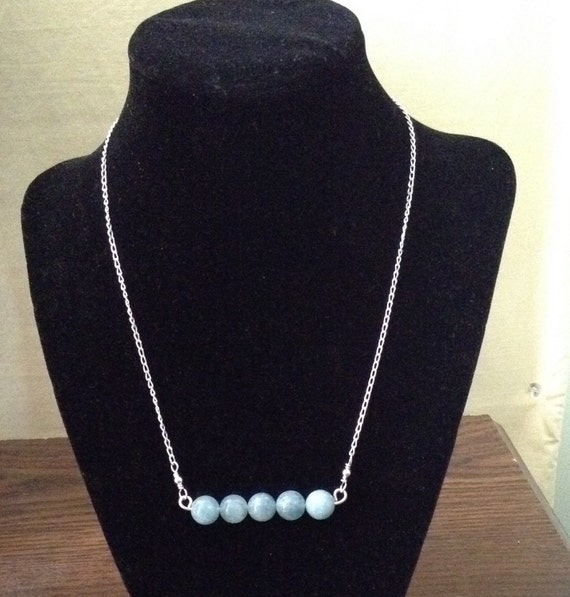 Aquamarine Bar Necklace and Sterling Silver Chain NSS6151797