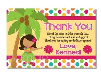 Luau Thank You Card Birthday Party - DIGITAL or PRINTED