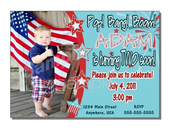 Fourth of July Invitation Birthday Party - DIGITAL or PRINTED