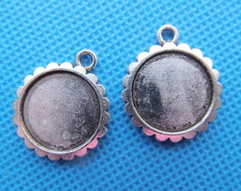 Antique Silver tone/Antique bronze Oval Frame Base Setting Tray Bezel Pendant Charm/Finding,Border Flower,fit 16mm Cabochon/Cameo,DIY