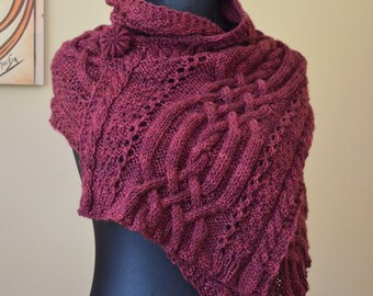 Hand knitted shawl BFL wool + silk