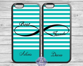 Best Friend Iphone case set Infinity Gray Chevron Turquoise Cover For iPhone 6, 5, 5s, 5c, 4, 4s TWO CASE SET