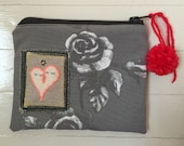 Zippered Bag/Pouch with Ghost Patch - Grey Rose Fabric w/ Red Zipper, Ghosts w/ Black Star