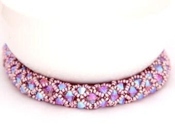 Beaded Netted Bracelet / Beaded Swarovski Bracelet / Beaded Jewelry / Beaded Bracelet