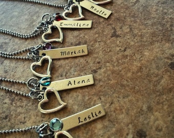 Hand Stamped Bridesmaids Necklace - Jr. Bridesmaid Necklace - Heart Necklace - Bridemaids Gift - Wedding Party Gift - Flower Girl