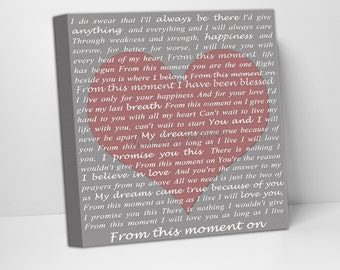 Custom Canvas, Personalized Holiday Gift, love letter, Song Lyrics, gifts for her, gifts for him