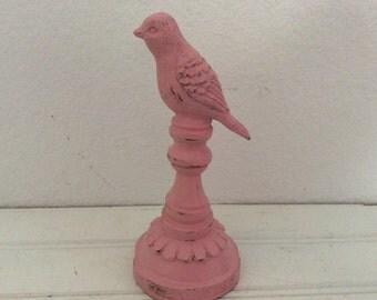 Garden Bird Finial - Painted Pink  - Distressed - Shabby Chic - Cottage Decor - Garden Totem - Garden Statue  - Nursery - Bird Nest