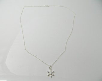 Vintage Sterling Silver Snowflake, Cute Cable  Necklace 1.7g U5560