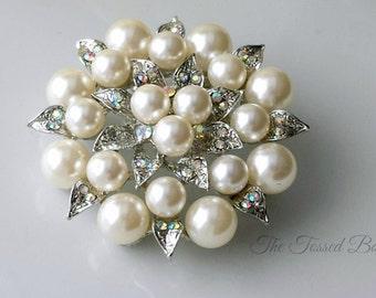 Rhinestone Pearl Bridal Brooch,Pearl Brooch Pin,Sash Brooch Pin,Wedding Dress Brooch,Bridal Brooch Pin,Bridesmaid Brooch Pin,Prom Brooch,AB