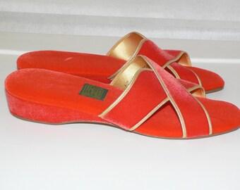 1960s Daniel Green Slippers Orange Velvet w Gold Trim - New Old Stock