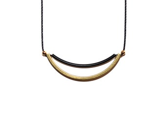 Raw Brass Curved Bar & Matte Black Tube Bar Necklace with 14k Gold Filled Accent Beads - Dainty, Minimalist, Simple Necklace