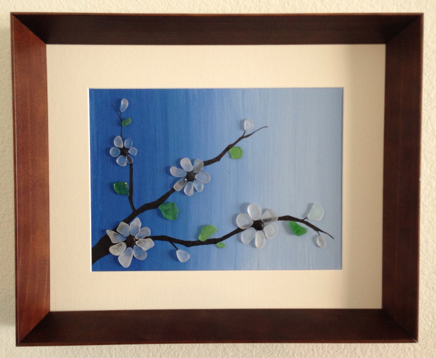 Sea Glass Art Japanesse Art Tree Blossom Beach Decor Home