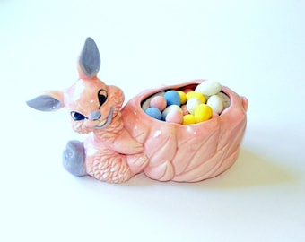 Vintage Pink Bunny Rabbit Planter, Easter Bunny Flower Pot,       Spring Baby Nursery Planter, by Thomas Ceramics
