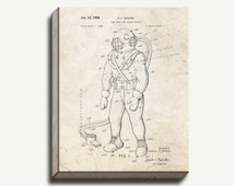 Canvas Patent Print - Toy Deep Sea Diver Outfit Gallery Wrapped Canvas Poster