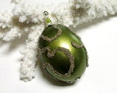 Holiday Egg Ornament, Hand Blown Egg, Green Beaded Egg, Green Christmas Ornament, Apple Green Easter Egg Ornament Hand, Beaded Lime Ornament