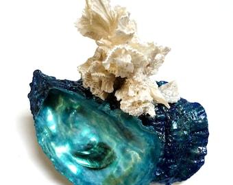 Ocean Sculpture, Blue Green Water Sculpture, White Coral Shell Sculpture Beach Art, Cottage Shell Art Beach Home Art, Seashell Art Ocean Art