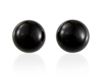 Black Jade Dyed Cabochon Loose Gemstone Round Set of 2 1A Quality 6mm TGW 1.55 cts.