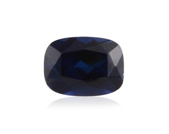 Blue Sapphire Synthetic Lab Created Loose Gemstone Cushion Cut 1A Quality 7x5mm TGW 1.05 cts.