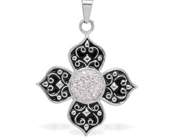 White Austrian Crystal Pendant Without Chain in Stainless Steel