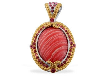 Simulated Rhodochrosite Oval Pendant Without Chain Made with SWAROVSKI Pink Crystals