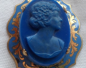 Antique Blue Art Glass & Enamel Cameo Pendant