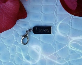 Cell Phone Charm; Zipper Pull.  Love.  Silver with Lobster Clasp.