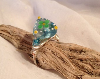 Blue triangle Glass bead ring, Blue flower silver wrapped ring