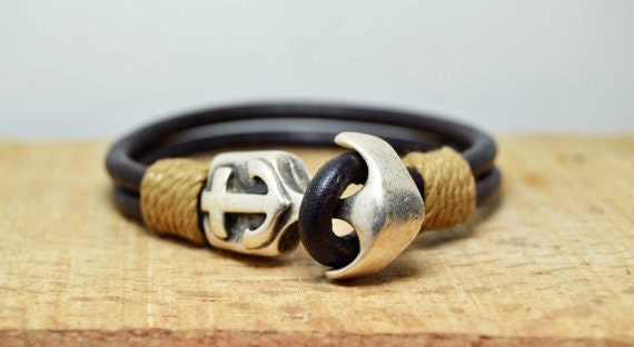 herren lederarmband herren armband mens anker armband. Black Bedroom Furniture Sets. Home Design Ideas