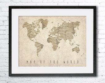 Map of the World, Old music Sheet map, Vintage map Art Print - Travel Decor art Travel nursery, World Map wall decor, map gift idea,