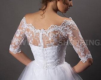 Off-Shoulders Bridal Lace Bolero Jacket 1/2 sleeved  lace ivory white lace bolero E1403C back fastening zip - naked shoulders lace top