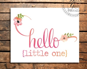 Hello Little One - Watercolor Art Print - Nursery Decor - Baby Shower - Kids - New Baby Gift