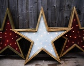 Barn Wood Star Lights. Handmade Primitive startlight decoration.