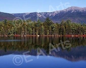 Daicey Pond Mt Katahdin Baxter State Park Maine Panoramic Color Art Print by Maine Photographer Paul Vose