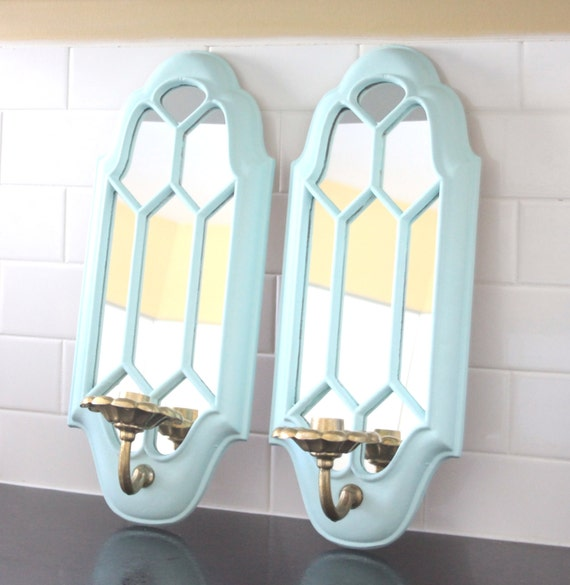 Vintage Candle Wall Sconces Metal Painted Tiffany Blue