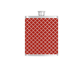 Red Moroccan Wallpaper Bridesmaid Gift - *** FREE FUNNEL INCLUDED *** Stainless Steel 8 oz Liquor Hip Flask - Flask#45